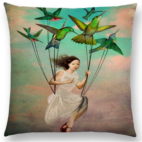 Cushion Cover  - Flying Hummingbirds Heart