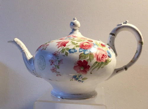 French Style  - Teapot Upcycled Vintage Silver plated