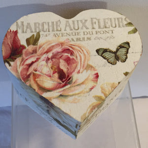 Heart Shaped Trinket Box - Roses and Butterfly