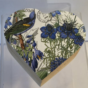 Small Heart Shaped Trinket Box - Blue Bird and  Flowers