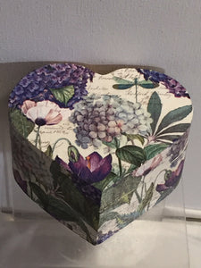 Heart Shaped Trinket Box - Hydrangea and Dragonfly