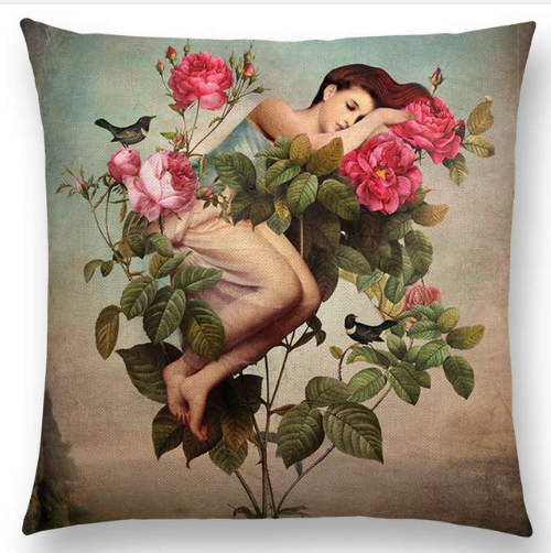 Cushion Cover -  La Rose Endormie (the Sleeping Rose)