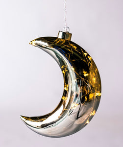 Hanging Glass Light - Mirrored Crescent Moon