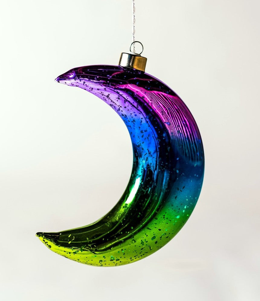 Hanging Glass Light - Vibrant Crescent Moon