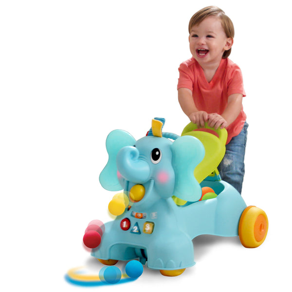 Ollie 3 In 1 Sit Walk Amp Ride Elephant Blueboxtoys