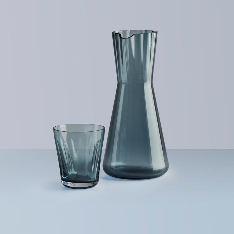 NUDE Lady Carafe and tumbler in steel blue leadfree crystal
