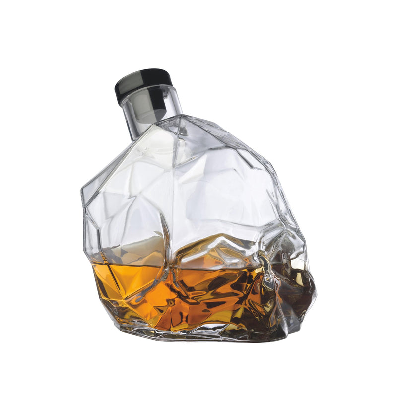 NUDE Memento Mori skull shaped whisky bottle filled side view