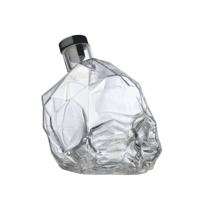 NUDE Memento Mori skull shaped whisky bottle empty side view
