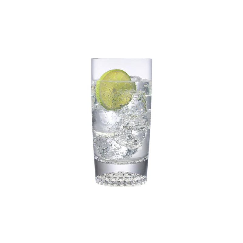 NUDE Ace high ball glasses with golf pattern on the bottom filled with sparkling drink