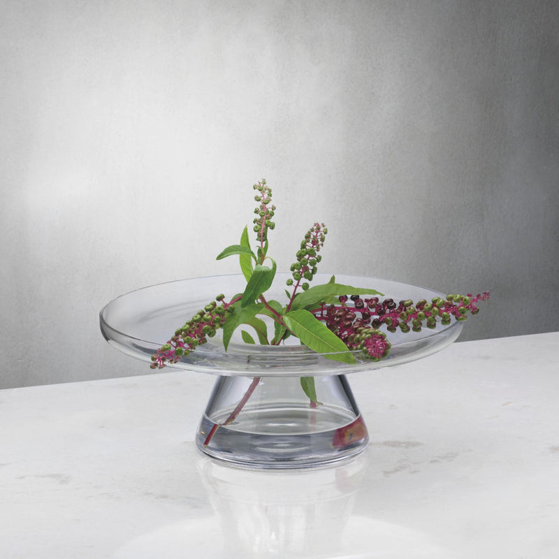 NUDE Bloom cakestand base in clear leadfree crystal presented as a wide vase