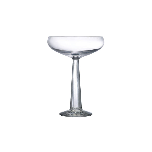 NUDE Big Top Coupe glass with linear patterned stem empty