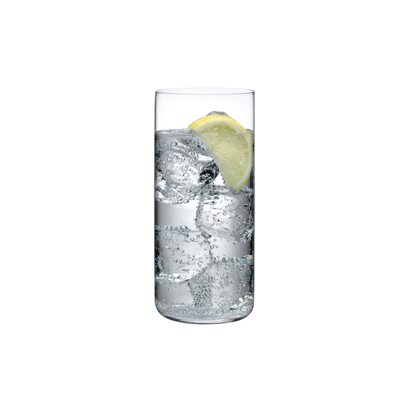 NUDE Glass Finesse Highball glass in lead-free crystal presented with softdrink
