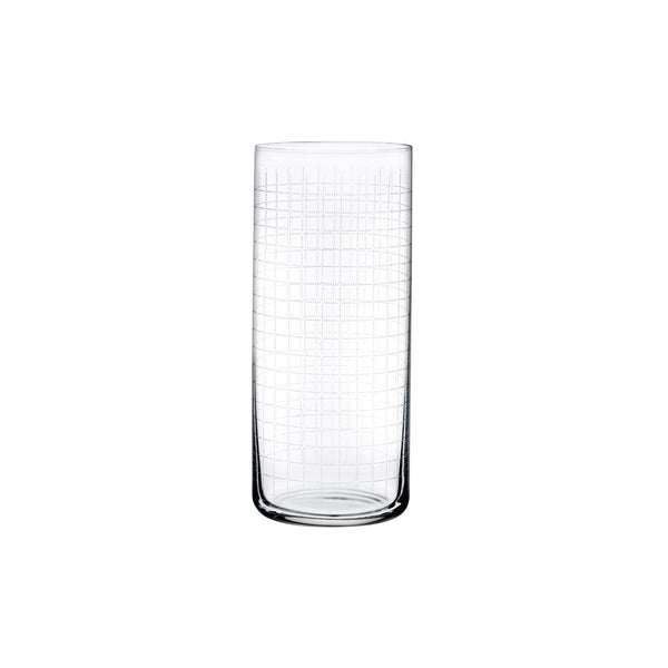 NUDE Glass Finesse Grid highball glass in lead-free crystal
