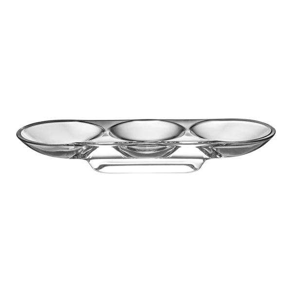 Nude Glass Silhouette Compartment Tray 3 sections curved in clear lead-free glass