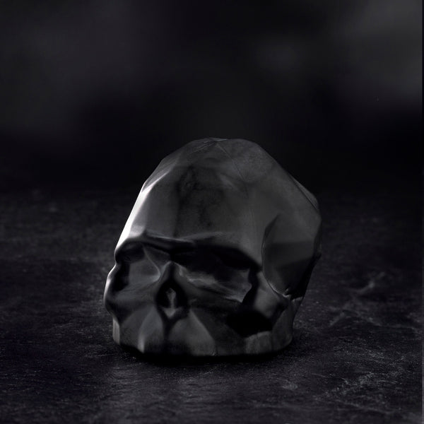 Memento Mori@Faceted Skull Sandblasted Black Small
