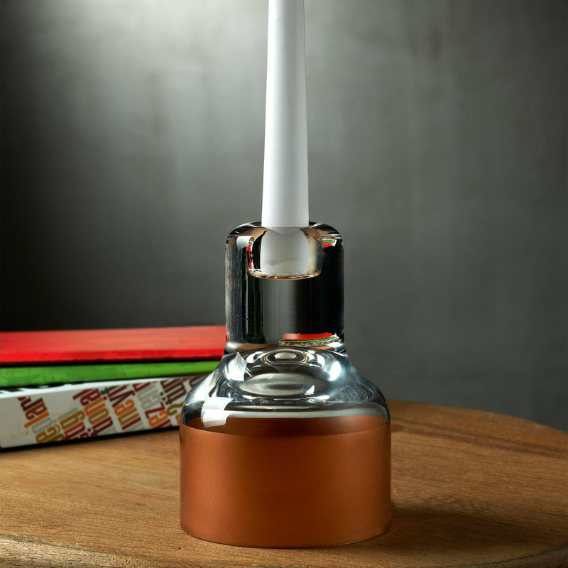 Contour@Candle Holder with Clear Top and Copper Base
