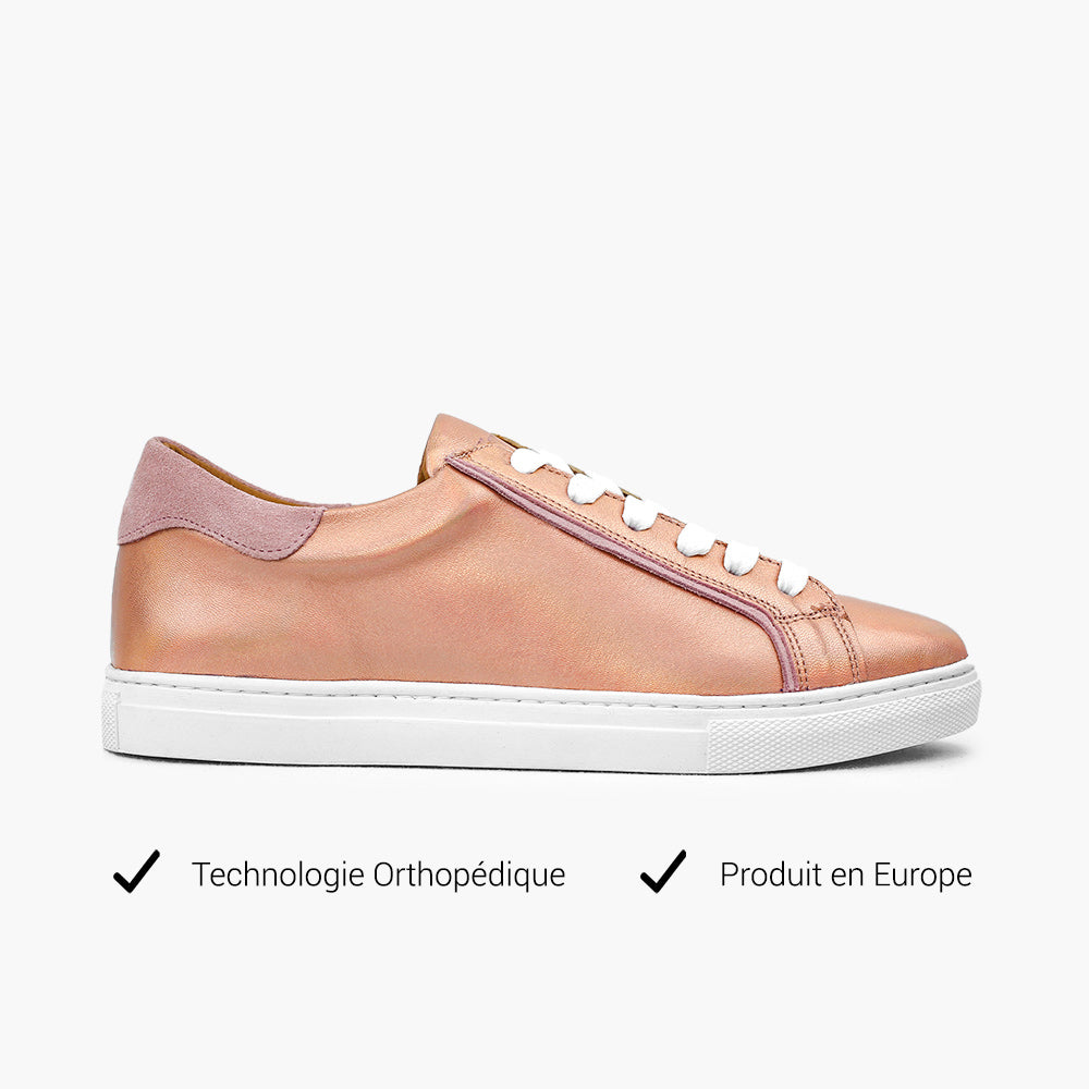 Sneakers femme Or Rose Technologie orthopédique
