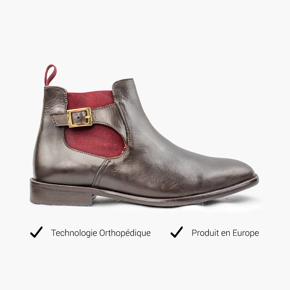 Bottines homme marron technologie orthopédique