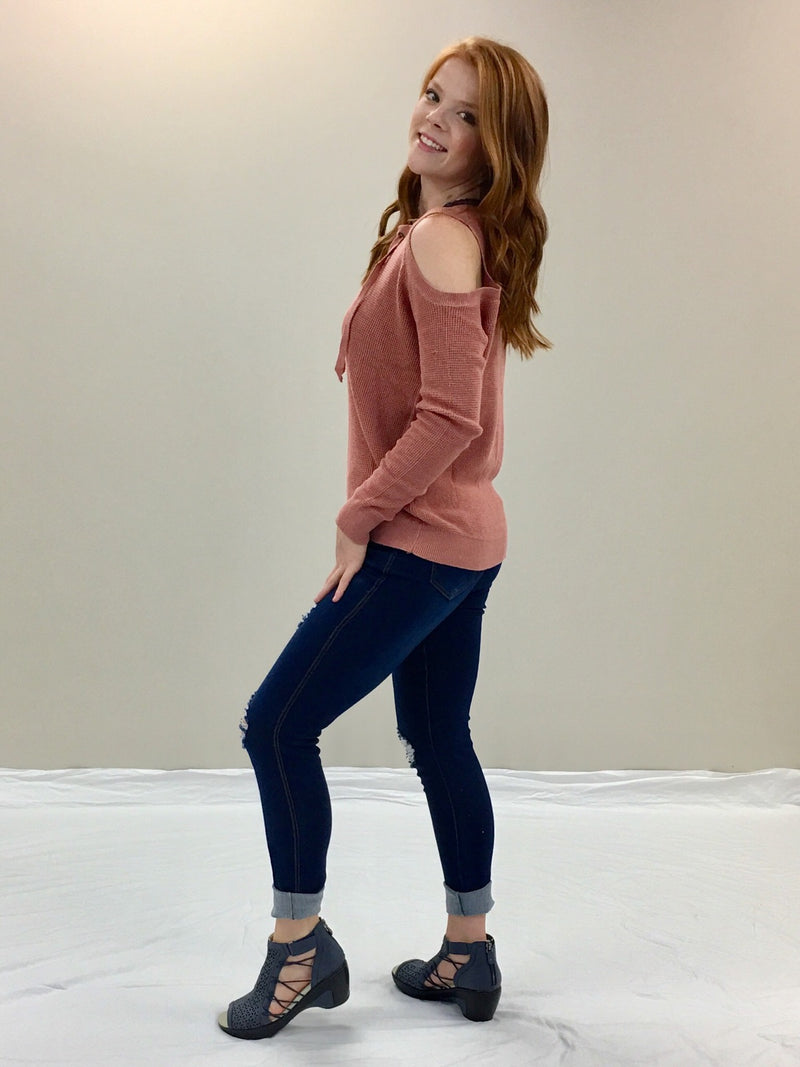 Cold shoulder Sweater-Cinnamon