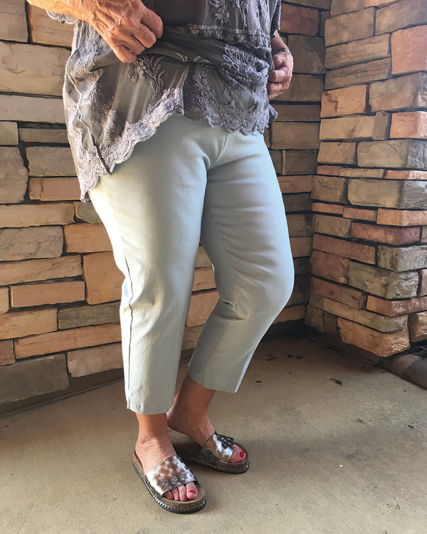 Stretch Capri Pants-Silver