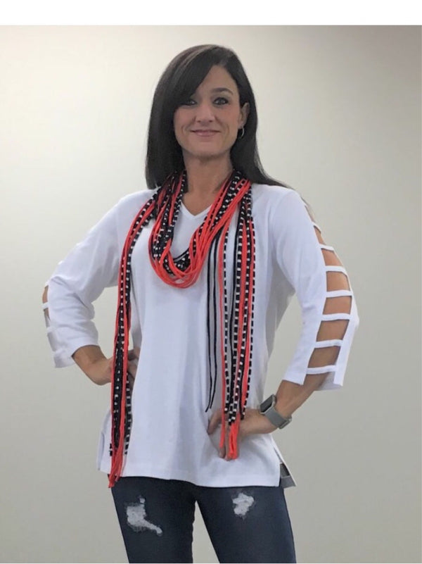 Long Strand Scarf-Orange & Blue