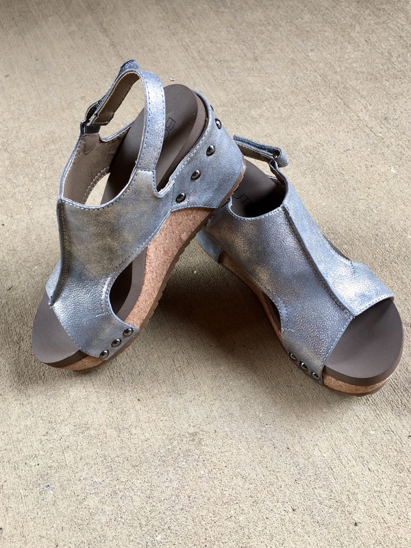 Wedge Sandal-Pewter