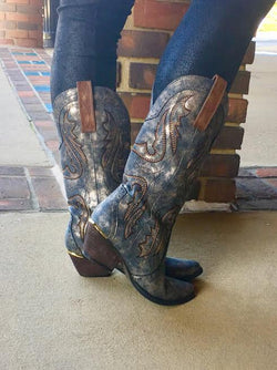 Cowboy boot-Pewter