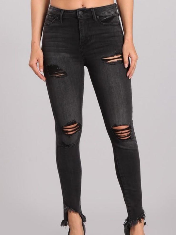 Ankle distressed skinny-black