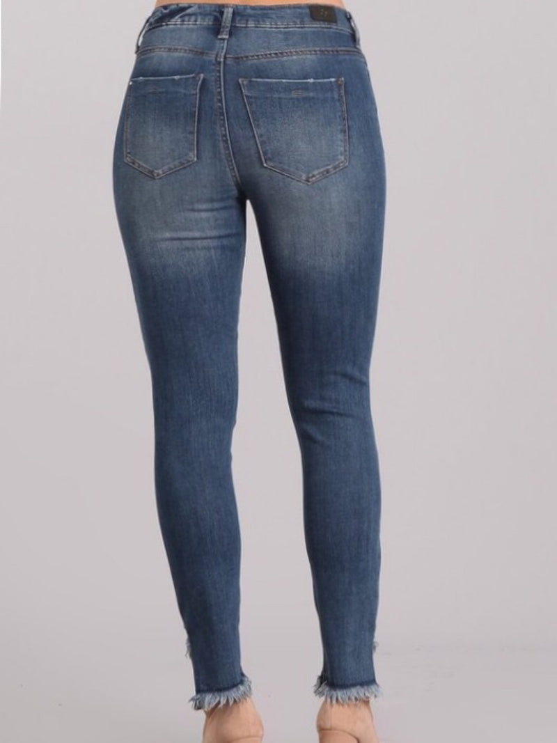 Ankle distressed Skinny-Blue