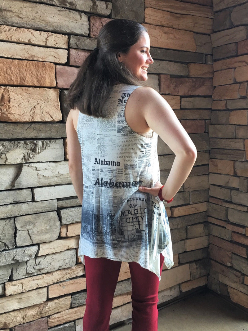 Newsprint Tunic-B&W