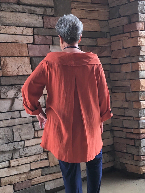Cowl Neck Tunic-Rust