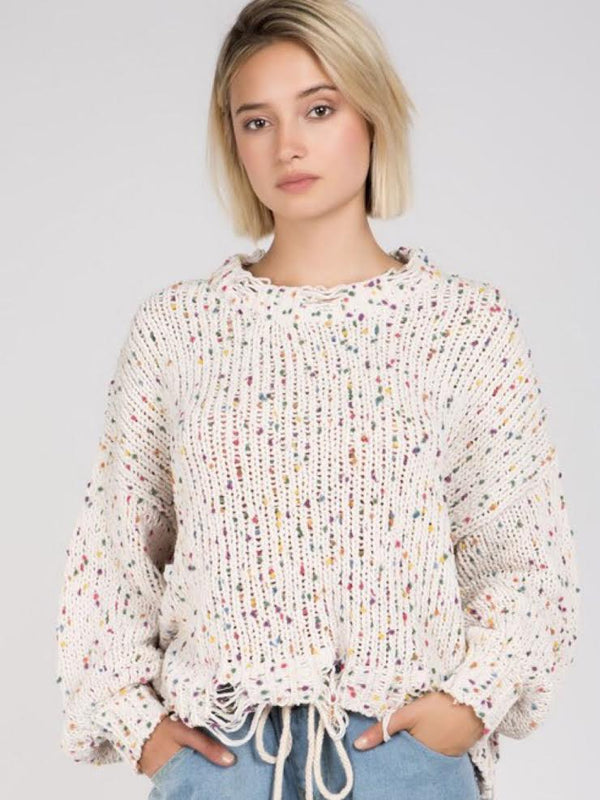 Popcorn sweater-Cream