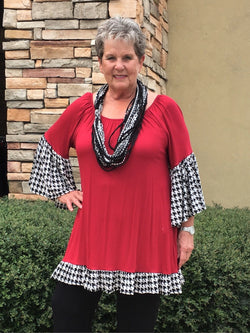 Houndstooth Trim Tunic-Red