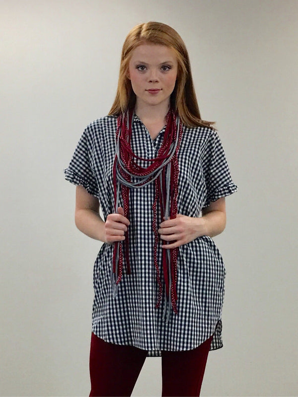 Long strand scarf-Red&Grey