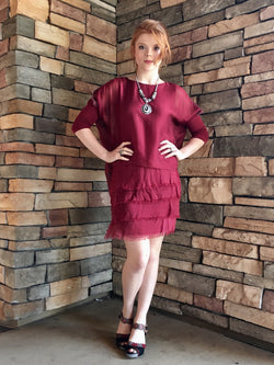 Ruffle Dress - Burgundy