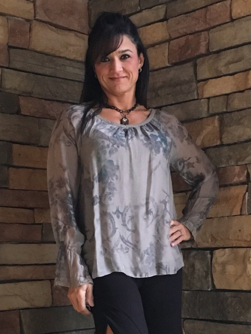 Silk Blouse-Taupe