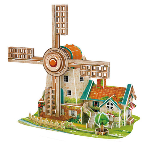 DIY 3D Puzzle Dutch Music Windmill Model