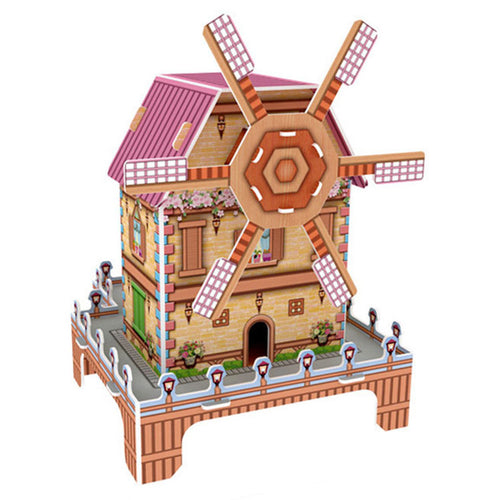 DIY 3D Puzzle Windmill Cabin Model