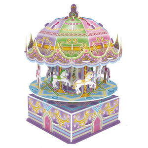 3D Puzzle Carousel Model Paper Assembly