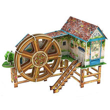 Load image into Gallery viewer, 3D Puzzle Waterwheel Villa Model Paper Assembly