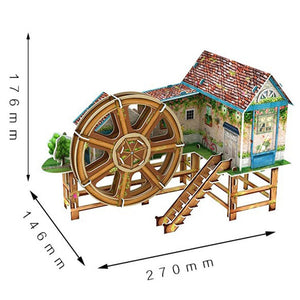 3D Puzzle Waterwheel Villa Model Paper Assembly