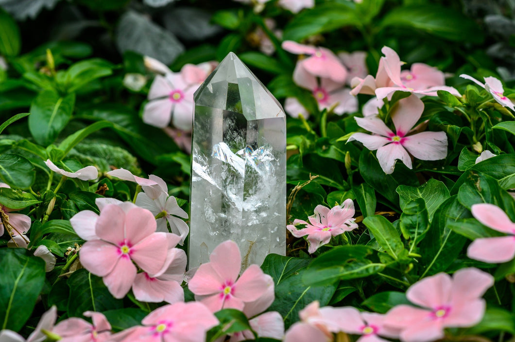 Large Clear Quartz Point with Rainbows