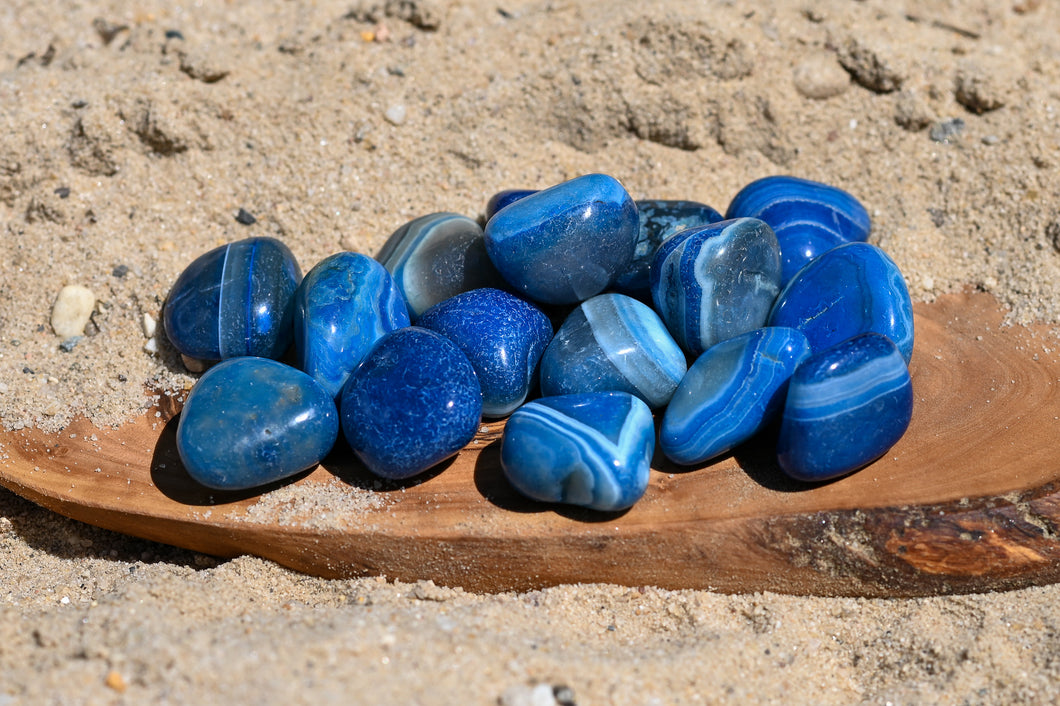 NEW 3 Blue Banded Agate Tumble Stones