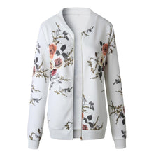 Load image into Gallery viewer, Retro Floral Zipper Up Bomber Outwear