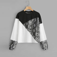 Load image into Gallery viewer, Black Snake Skin Sweatshirt and Preppy Round Neck