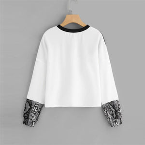 Black Snake Skin Sweatshirt and Preppy Round Neck
