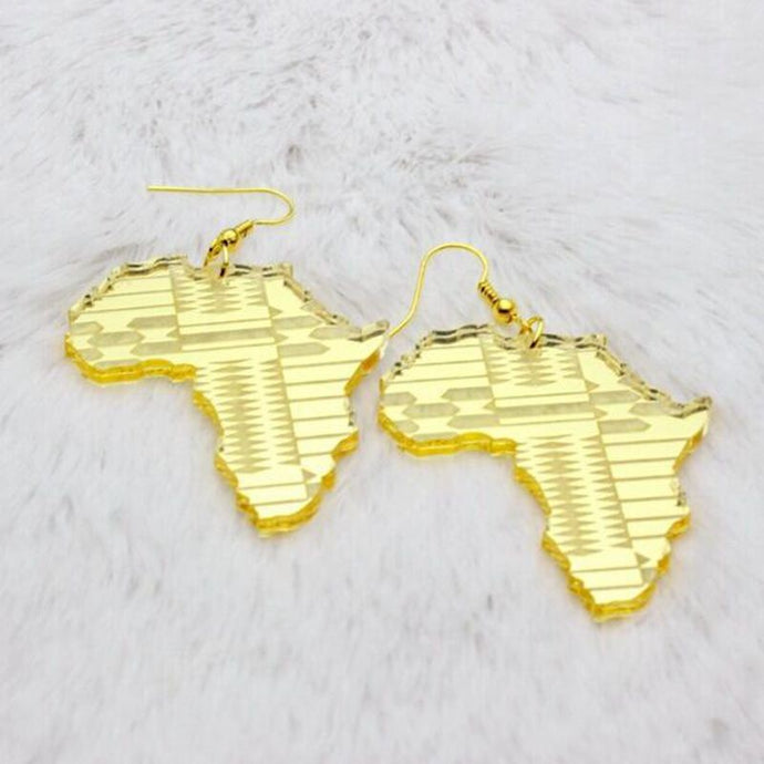 Gold Acrylic Africa Map Earrings