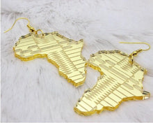 Load image into Gallery viewer, Gold Acrylic Africa Map Earrings