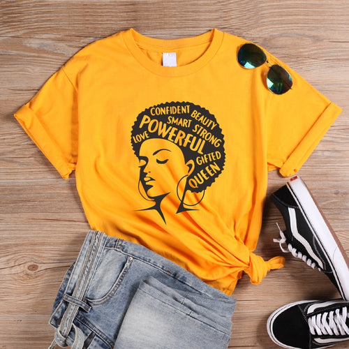 Afro Lady Graphic T-Shirts Black Queen Girl Slogan
