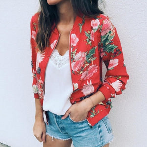Retro Floral Zipper Up Bomber Outwear